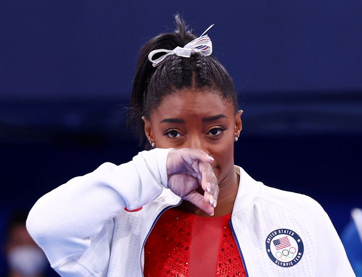 Tokyo 2020 Olympics - Gymnastics - Artistic - Women's Team - Final - Ariake Gymnastics Centre, Tokyo, Japan - July 27, 2021. Simone Biles of the United States during the Women's Team Final REUTERS/Mike Blake TPX IMAGES OF THE DAY