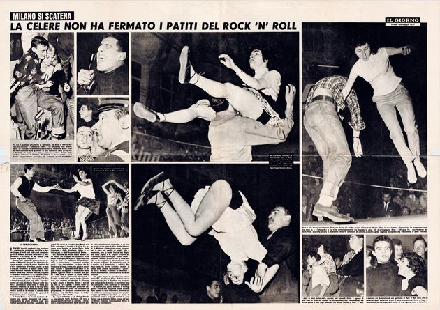 Così il quotidiano Il Giorno – in un servizio di Adele Cambria, in seguito direttrice di Lotta Continua – raccontò il 20 maggio del 1957 l'evento del Palazzo del Ghiaccio di Milano. Bersaglio principale: Adriano Celentano (Archivio Bovi)