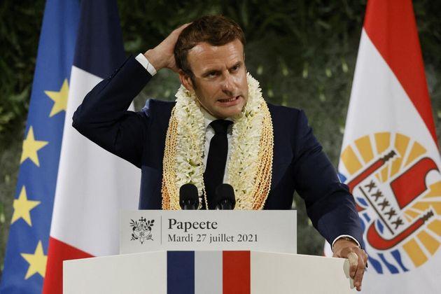 Emmanuel Macron lors de son discours à Papeete en Polynésie Française, le mardi...