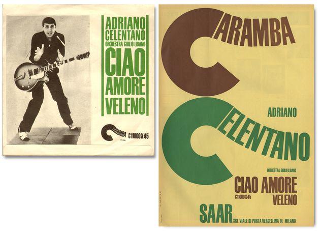 Lo spartito e il disco di Adriano Celentano pubblicati da Walter Guertler con l'etichetta Caramba (foto Musica e Dischi, archivio Fiore)
