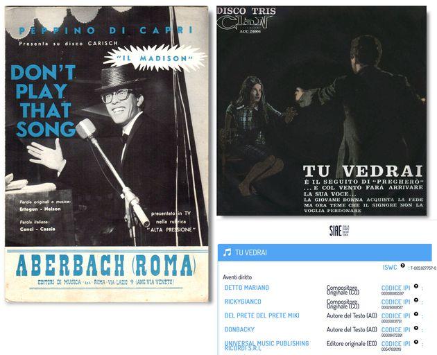 Lo spartito di Don't Play That Song (You Lied) di Peppino di Capri e la copertina di Tu vedrai di Ricky Gianco