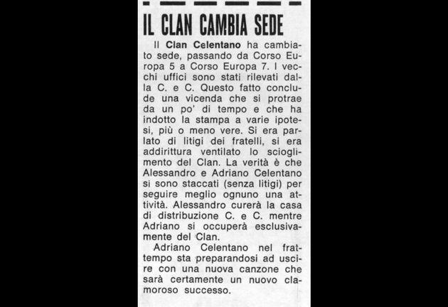 L'annuncio che comunicò la separazione tra Adriano e Alessandro Celentano, febbraio 1967 (Musica e Dischi - archivio Fiore)