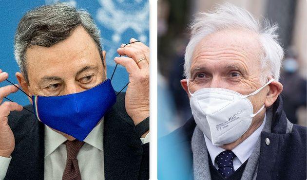 Il premier Draghi e il ministro dell'Istruzione Bianchi