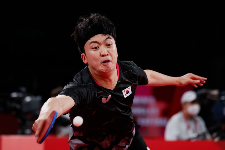 Jeoung Youngsik, pictured in action at the Olympics on Wednesday, was the subject of racist comments by a Greek TV commentato