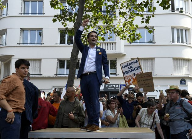 Florian Philippot durant une manifestation contre le pass sanitaire organisée par son mouvement Les Patriotes...