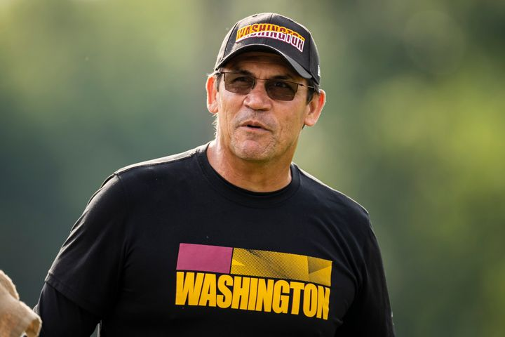 """Ron Rivera, pictured at a mini-camp in June, say his team's low vaccination rate could be a """"huge, huge disadvantage."""""""