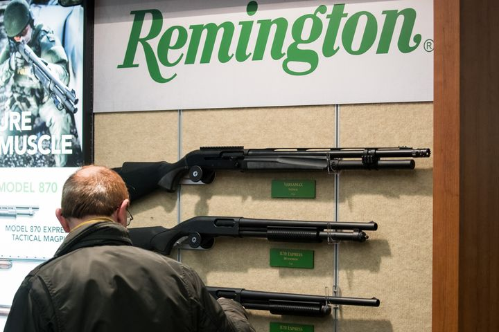 Rifles by the American manufacturer Remington are displayed at a trade show in Germany in 2018.Lawyers for the bankrupt