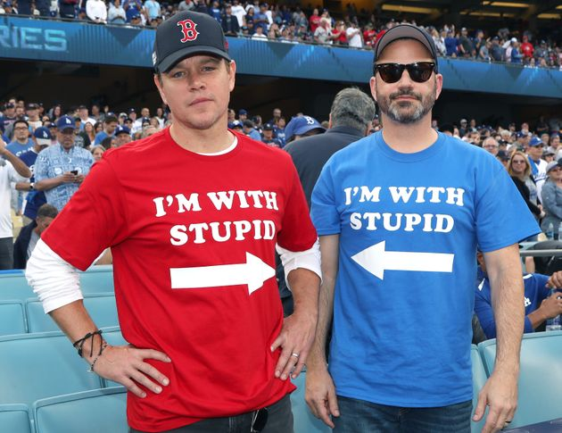 Matt Damon and Jimmy Kimmel attend Game 5 of the Boston Red Sox v. Los Angeles Dodgers World Series on...