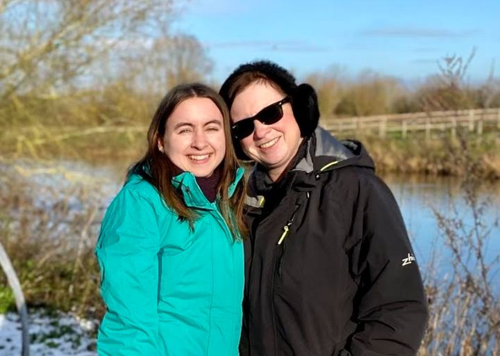 The author and her mother on a walk in December 2020.