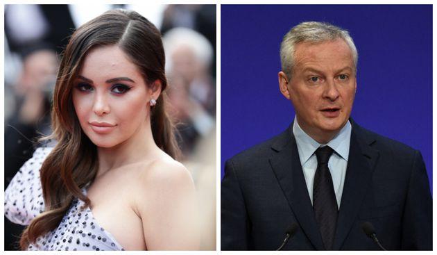 A gauche: Nabilla sur le tapis rouge du Festival de Cannes, le 22 mai 2019. A droite: Le ministre de...