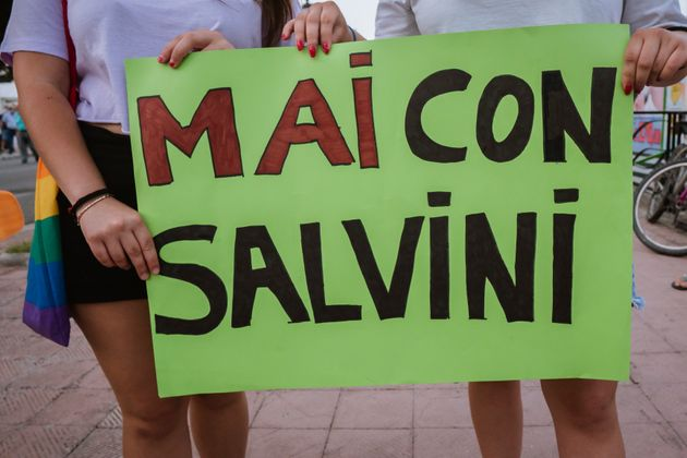 SIDERNO, ITALY - 2021/06/21: A placard quoting