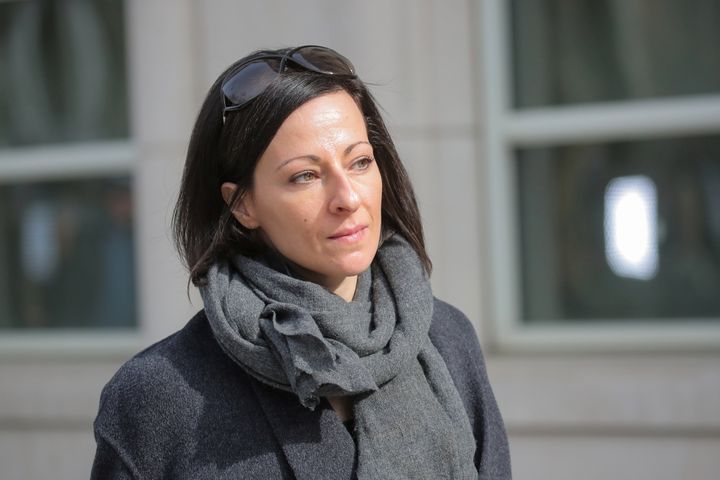 Lauren Salzman, a co-defendant in the sex trafficking and racketeering Nxivm cult, departs the Brooklyn Federal Courthouse, f