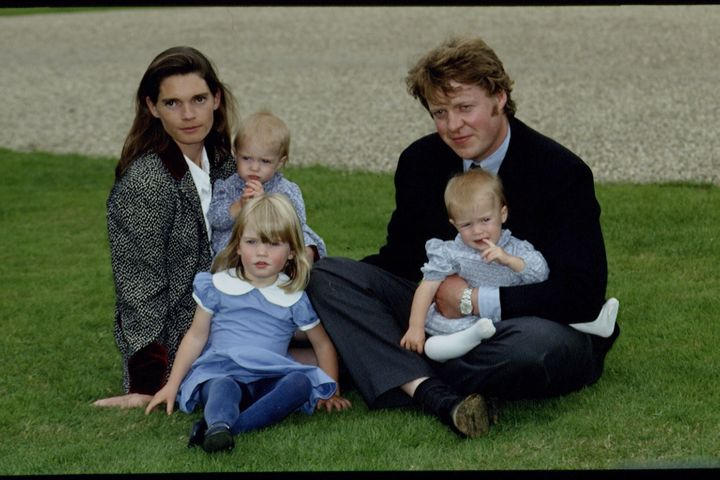 The Spencers with their daughters, Kitty and twins Eliza and Amelia, at a horse show in Northamptonshire.
