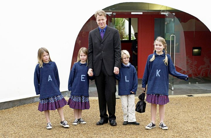 Earl Spencer with his children at the opening of the Princess Of Wales Memorial Playground in Kensington Gardens.