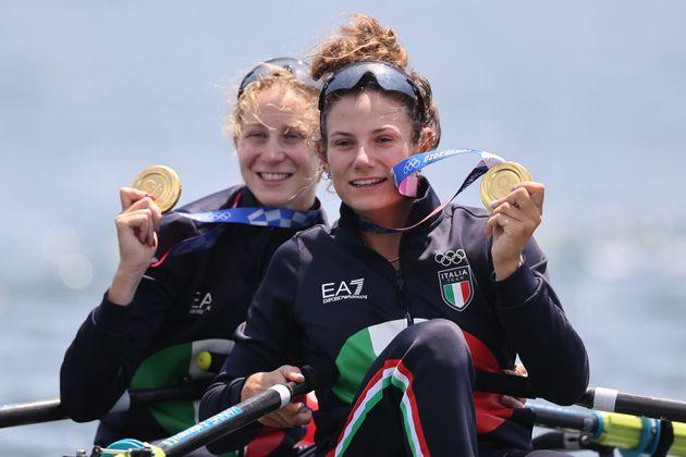 29 July 2021, Japan, Tokio: Rowing: Olympics, Lgw. double sculls, women, final in Sea Forest Waterway....