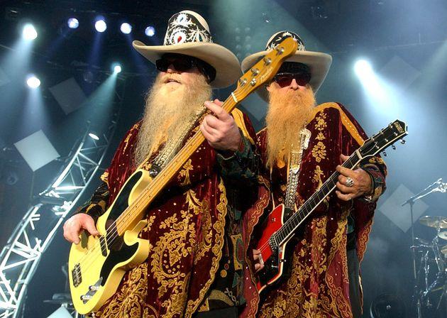 Dusty Hill, à gauche, et Billy Gibbons, à droite, des ZZ Top, lors de leur concert au Montreux...