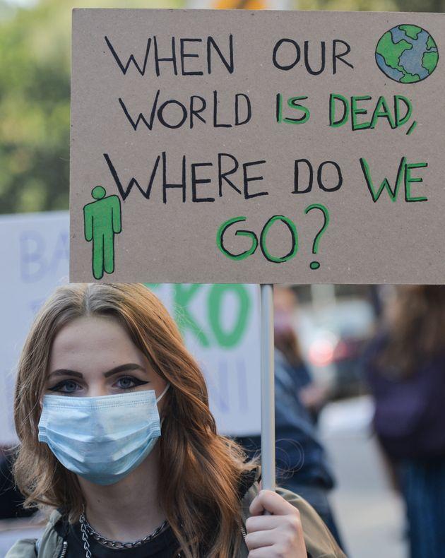 Photo d'illustration prise le 25 septmebre 2019 en Pologne lors d'une manifestation pour agir mieux et...