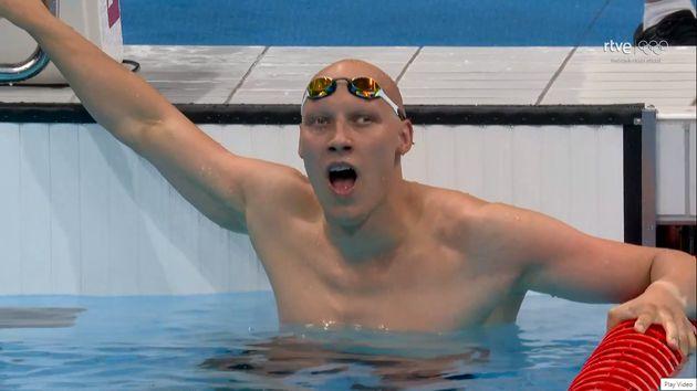 El nadador Matti Mattson, exhausto tras lograr el bronce en