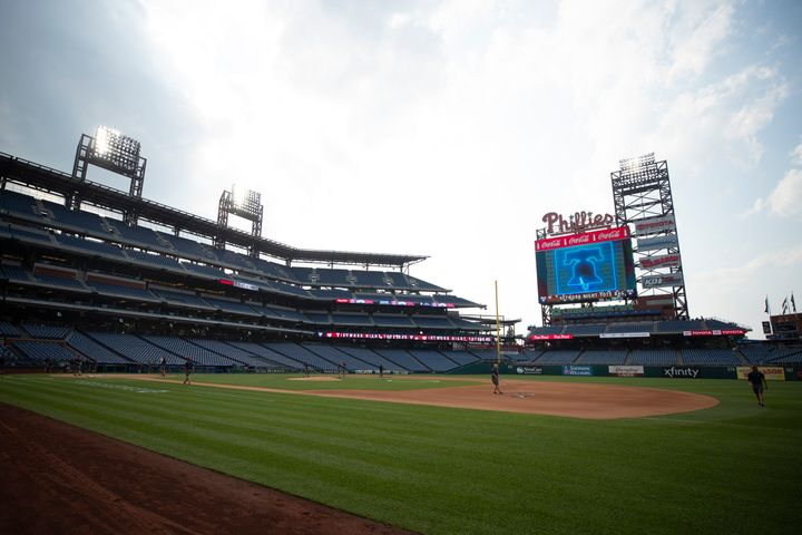 Citizens Bank Park in Philadelphia was empty Wednesday after the Nationals and Phillies' game was postponed due to an outbrea