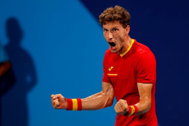 El tenista español Pablo Carreño celebra su victoria ante el ruso Daniil