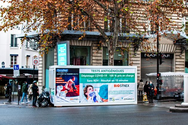 Deployment of COVID-19 antigenic testing tents outdoors in Paris, France. December 14,