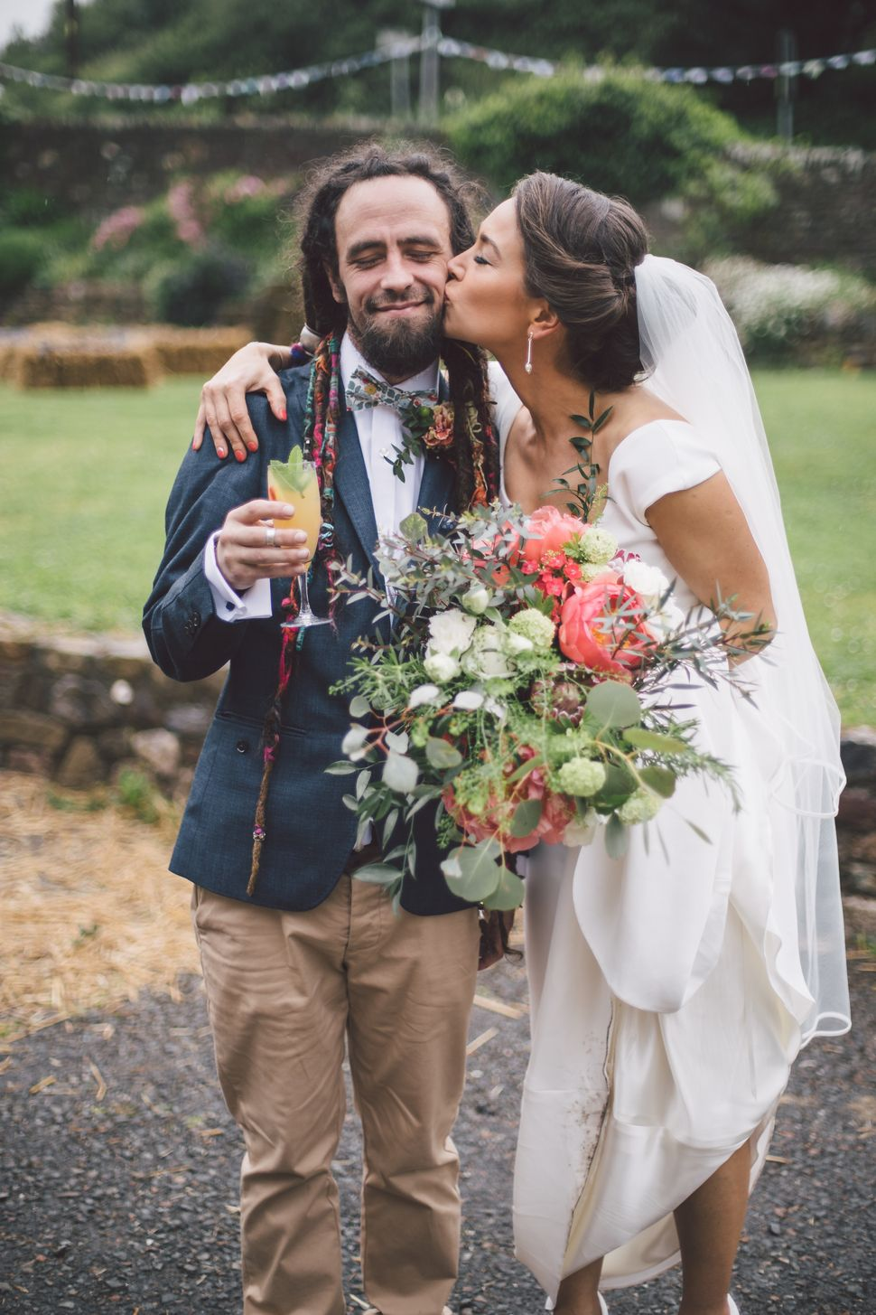 Amber Leach with her brother, Rod, at her wedding in Cornwall in May 2016.