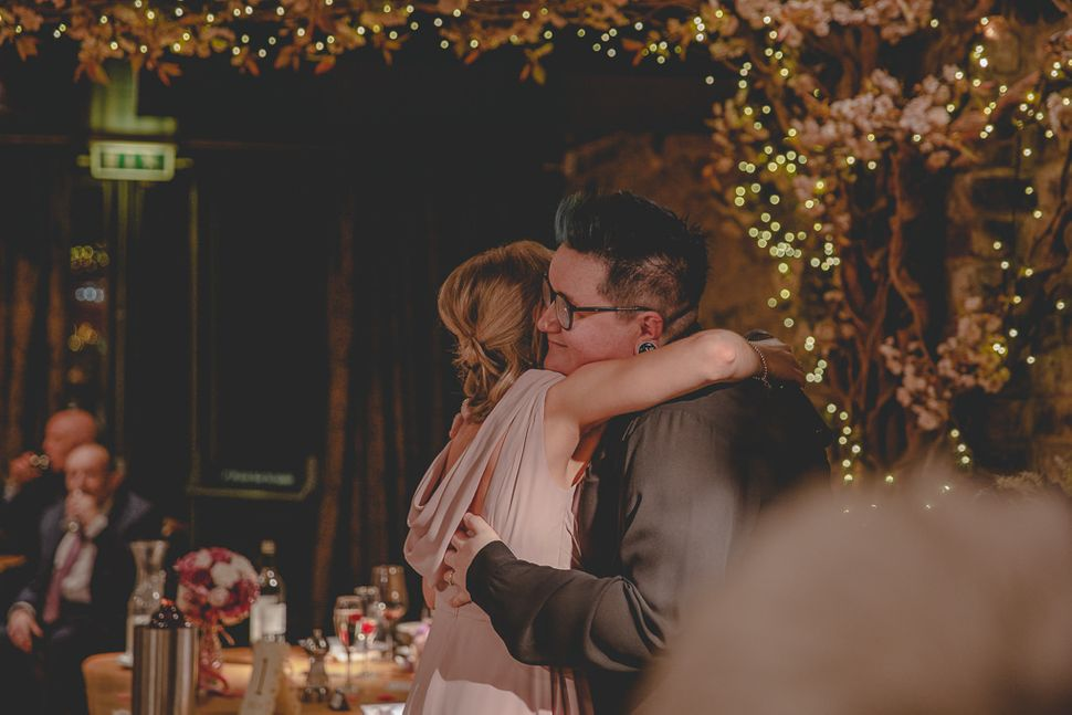 Carly Knight with her sister at her wedding reception in Newcastle in December 2019.