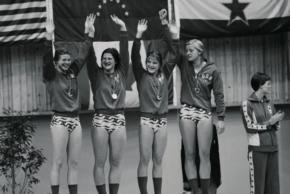 (Original Caption) The German Democratic Republic took a gold medal in the women's 4x100-meter medley...