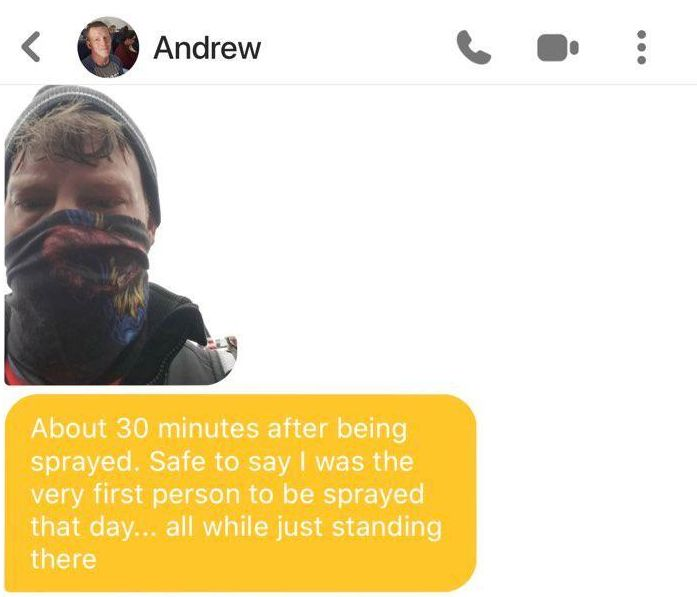 """A Bumble user we're calling """"Claire"""" provided HuffPost with screenshots of her conversation with Andrew Taake."""