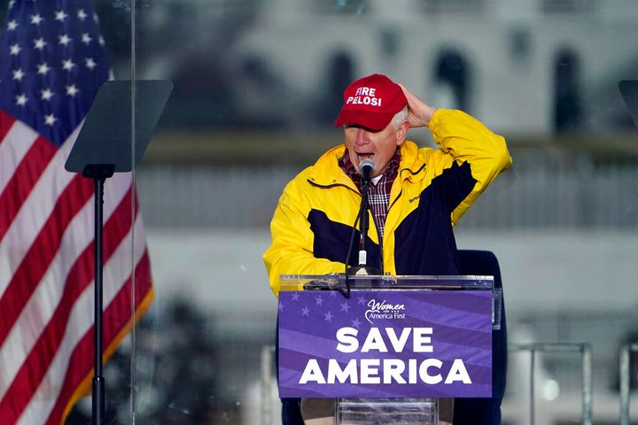"""Rep. Mo Brooks (R-Ala.) spoke on Jan. 6, 2021, in Washington, at what President Trump called the """"Save America Rally."""""""