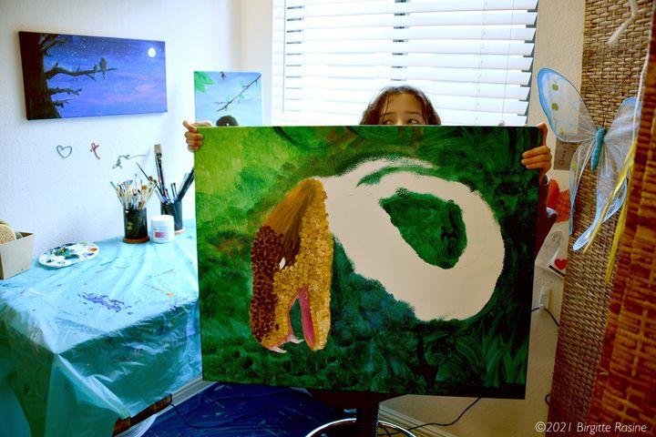 Aria Luna in her studio with a work in progress in March 2021.
