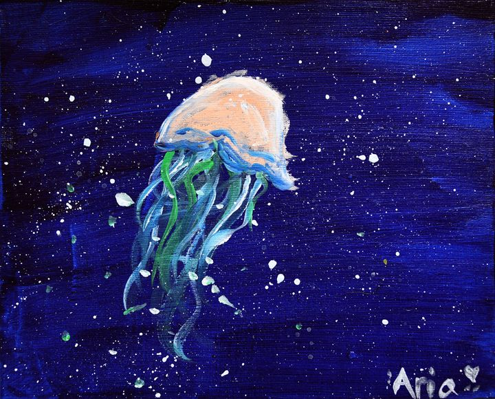 """Aria Luna's """"Jelly of the Mediterranean."""" Acrylic on canvas board, 8x10 inches."""