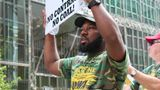 Warrior Met miner Emanuel Barnfield protests outside BlackRock in Manhattan on Wednesday.