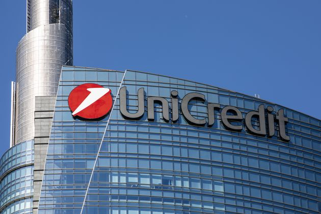 MILAN, ITALY - MAY 20: The logo of Italian international banking group Unicredit stands on the facade...