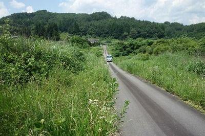 道の両側はかつて広々とした水田だった=2021年7月19日、福島県浪江町津島
