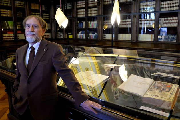 Professor of Romance Philology, Roberto Antonelli, poses at the Library of the Academy of the Lincei...