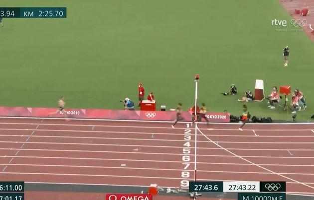 Llegada de la final de los 10.000 metros en los Juegos de