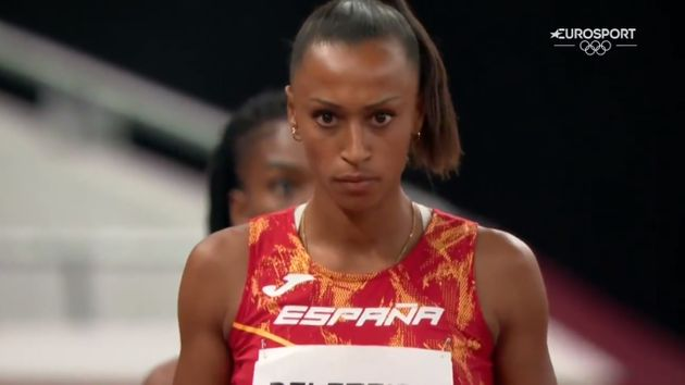 La atleta Ana Peleteiro antes de empezar su