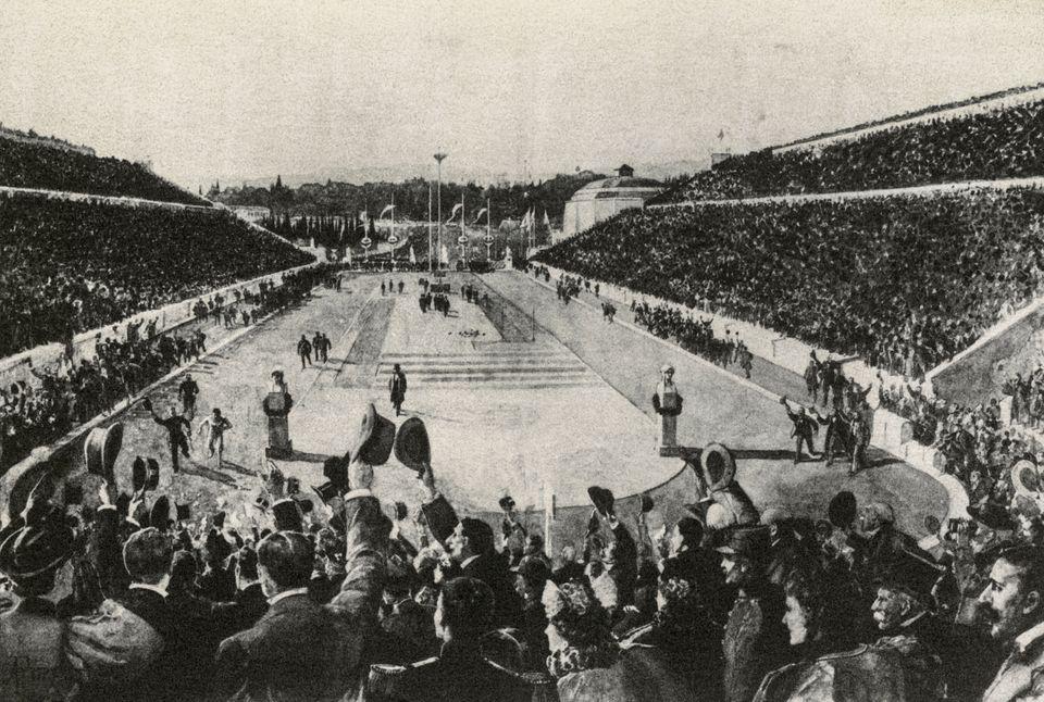 The winner of the marathon, Spiridon Louis, on arrival at the stadium, Athens Olympics, 1896, Greece,...