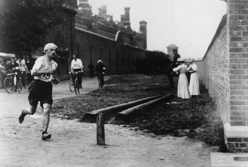 Italian runner Dorando Pietri (1885 - 1942) at Wormwood Scrubs near where he took the lead in the last...