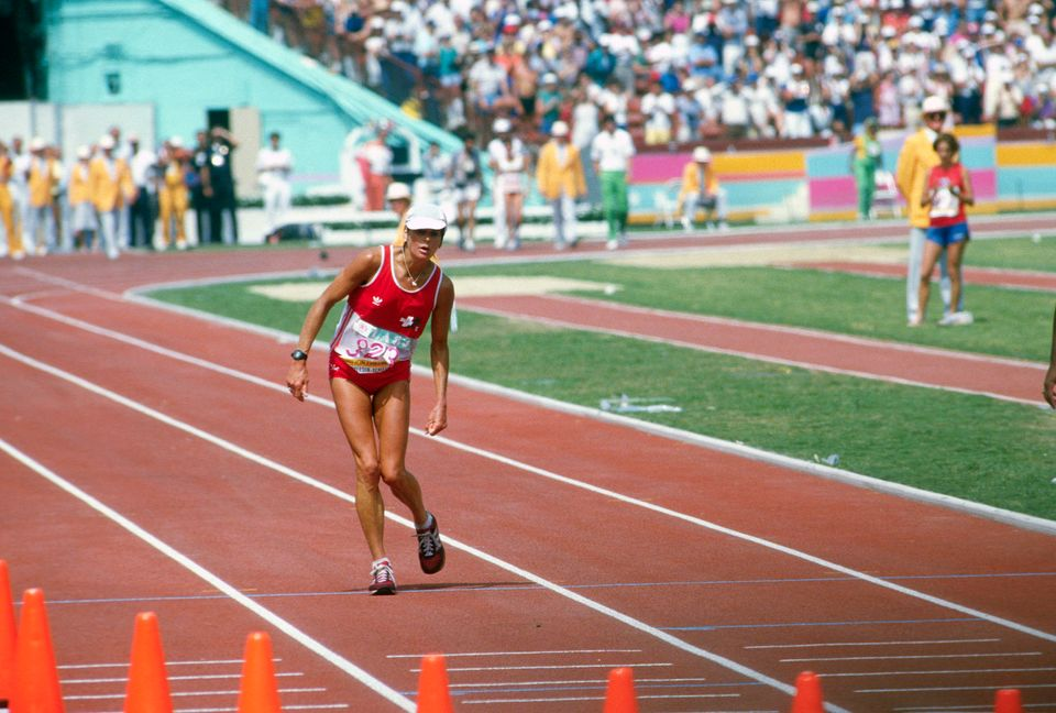 LOS ANGELES, CA - CIRCA 1984: Marathon runner Gabriela Andersen-Schiess of Switzerland limped around...