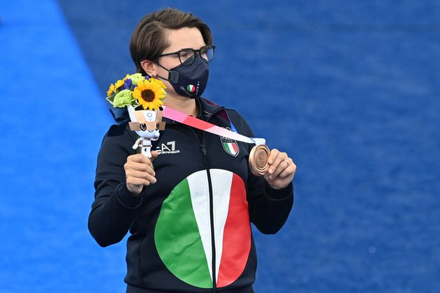 Bronze medallist Italy's Lucilla Boari poses during the women's individual victory ceremony during the...