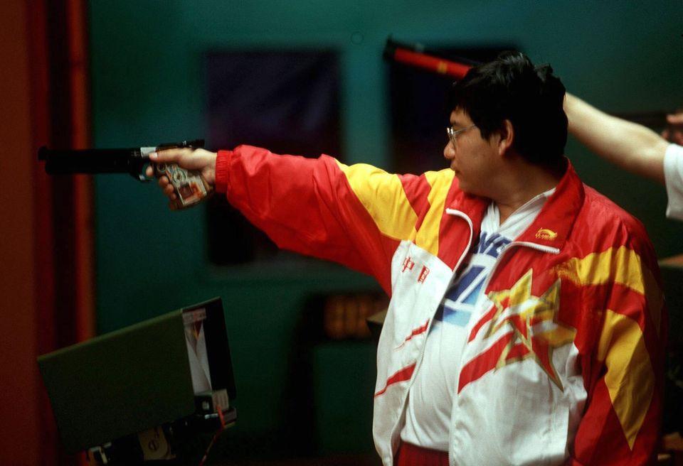 UNITED STATES - JULY 20: SCHIESSEN: ATLANTA 1996 Luftpistole/Maenner 20.7.96, Yifu WANG - CHN/- SILBER...