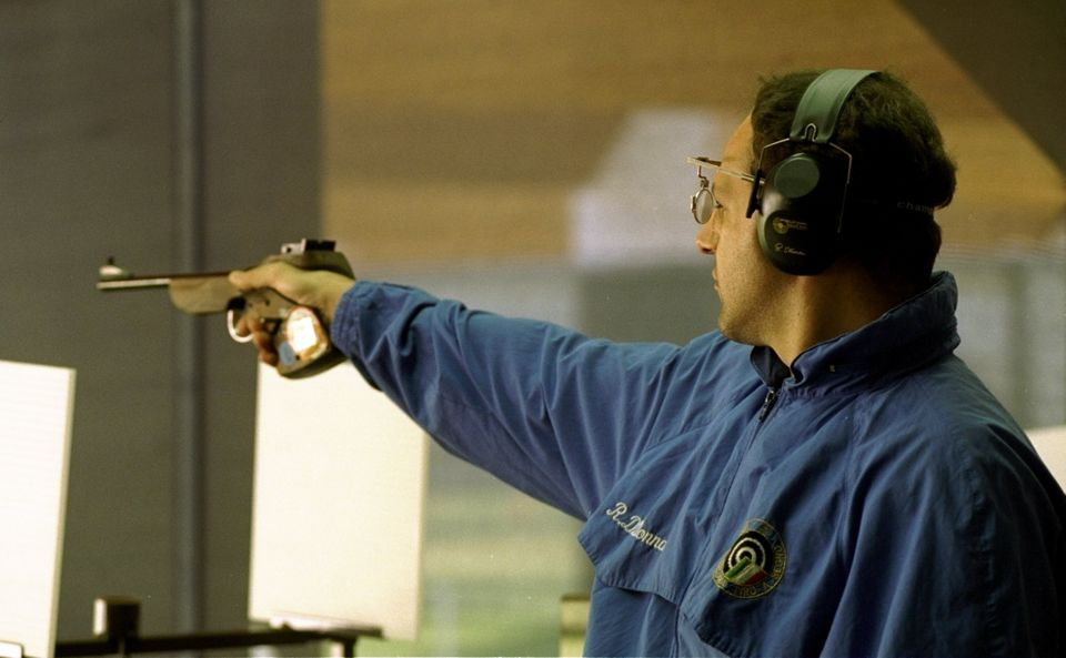 23 Jul 1996: Roberto Di Donna of Italy in action in the mens 50m free pistol at the Wolf Creek Complex...