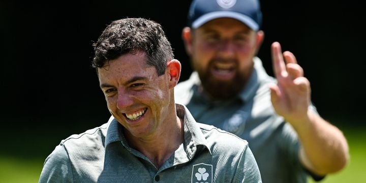 Rory McIlroy, left, and Shane Lowry of Ireland during a practice round at the Kasumigaseki Country Club during the 2020 Tokyo