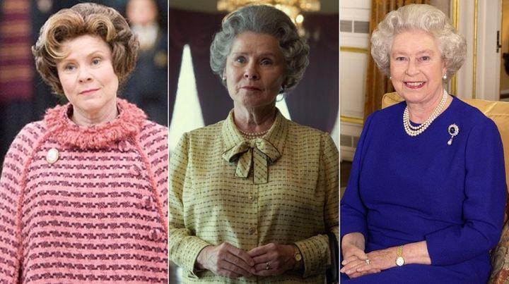 Imelda Staunton en 'Harry Potter', la actriz en 'The Crown' y la reina Isabel II.