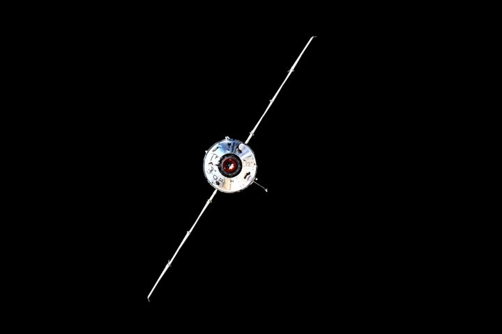 In this photo taken by Russian cosmonaut Oleg Novitsky the Nauka module is seen prior to docking with the International Space