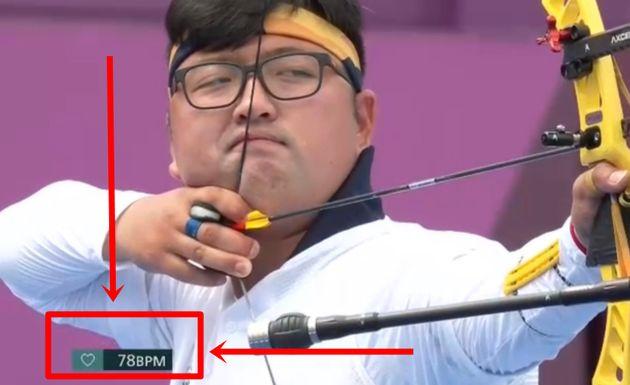 31일 중계 화면 하단의 김우진 선수 심박수가