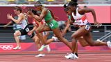 (From R) Britain's Asha Philip, Nigeria's Blessing Okagbare and Belarus' Krystsina Tsimanouskaya compete in the women's 100m heats during the Tokyo 2020 Olympic Games at the Olympic Stadium in Tokyo on July 30, 2021. (Photo by Andrej ISAKOVIC / AFP) (Photo by ANDREJ ISAKOVIC/AFP via Getty Images)