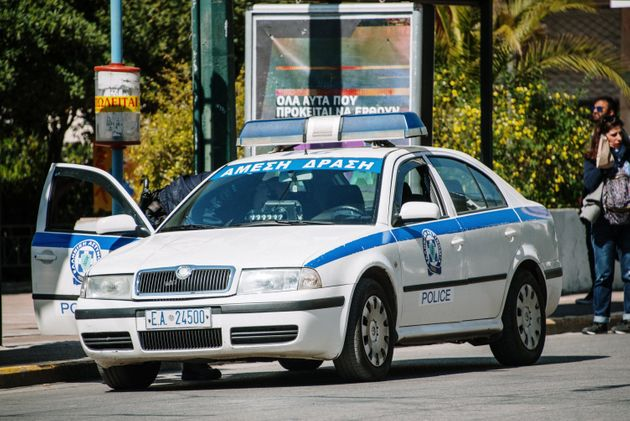 Athens, Greece. 25 March, 2019: An old Skoda Octavia car belonging to the greek Police force, parked...
